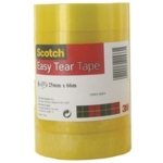Scotch Easy Tear Tape, 25mmx66mtr SPLIT PACK