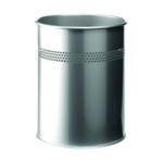 Durable Metal Waste Bin 15 Ltr Silver