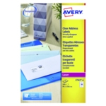 Avery L7563-25 Laser Labels Clear Pk350
