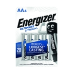 Energizer Ulti Lithium AA Battery Pk4