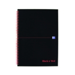 Black n Red Notebook A4 Quadrille Pk5