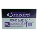 Concord Record Card 127x76mm Astd Pk100