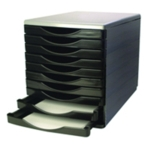 Q-Connect Black/Grey 10 Drawer Tower