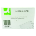 Q-Connect Record Card 152x102mm Wht P100
