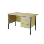 FF Serrion Oak 1200mm 4 Leg Desk 3D Ped