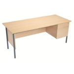 FF Serrion Oak 1500mm 4 Leg Desk 2D Ped