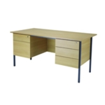 FF Serrion Oak 1500mm 4 Leg Dbl Ped Desk