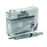 Pentel Maxiflo Whitebrd Marker Blk Pk12