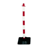 Freestanding Red/Wht Post Sq Rubber Base