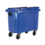 Blue Wheeled 1100 Ltr Bin with Flat Lid