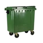 Green Wheeled 1100 Ltr Bin with Flat Lid
