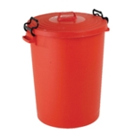 Red Light Duty Dustbin and Lid 110Ltr