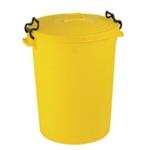 Yellow Light Duty Dustbin and Lid 110Ltr
