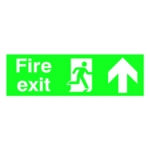 Fire Exit Arrow Up 150x450mm PVC Sign
