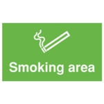 Smoking Area 300x500mm PVC Sign