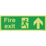 Fire Exit Man Arrow Up 150x450mm Sign