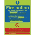 Niteglo Fire Action 300x250mm PVC Sign