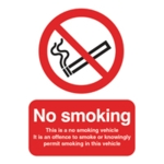 No Smoking Vehicle 100x75mm Slf-Adh Sign