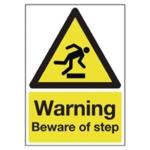 Warning A5 PVC Beware/Step Sign