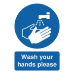 Wash Your Hands Please A5 Self-Adh Sign