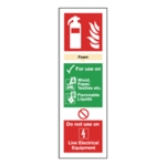 Fire Ext Foam 300mm x 100mm S-Adh Sign