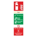 Fire Extinguisher Foam 280x90mm PVC Sign