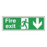 Fire Exit Arrow Down 150x450mm Sign
