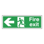 Fire Exit Lft Arrow Self-Adh Sign