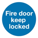 Fire Door Keep Locked 100mm Slf-Adh Sign