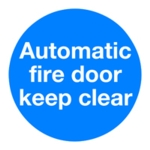 Auto Fire Door 100x100mm Self-Adh Sign