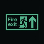 Niteglo Fire Exit Arrow Up Self-Adh Sign