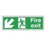 Fire Exit Arrow Down/Left 150x450mm Sign
