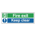Fire Exit Keep Clear 15x45cm Sf-Adh Sign