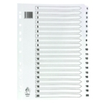 White A4 1-20 Mylar Index Dividers