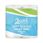 2Work Luxury Wht 2 Ply Quilt Toilet Roll