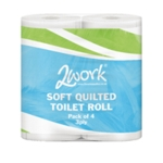 2Work Luxury Wht 3 Ply Quilt Toilet Roll