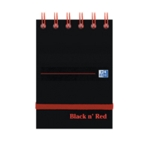 Black n Red Spiral Elast Notebook A7 Pk5