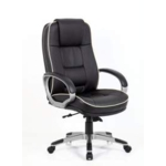 Eton Black Leather Chair With Piped Edging Detail