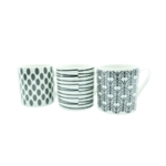 Blk/Wht 11oz Squat Mugs Dot/Stripes Pk12