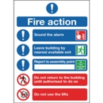 Fire Action Symbols A4 Self Adh Sign