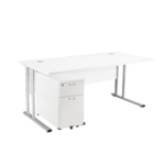FR FIRST RECT 1600MM DESK 2DR PED WHITE