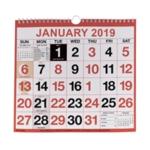 Wirebound Calendar 249x231mm 2019
