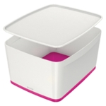 Leitz MyBox Lrg With Lid White Pink