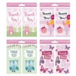 Thank You Cards Girl 4 Designs Pk192