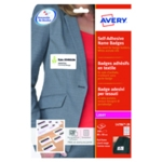 Avery Slf Adhes Badge Wht and Red Pk200