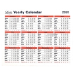 Letts Yearly Calendar 2020
