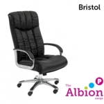 Bristol Executive Chair C/W Chrome Base +Chrome Fixed Arms