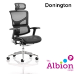 Donington Posture Chair with black mesh, arms, and headrest
