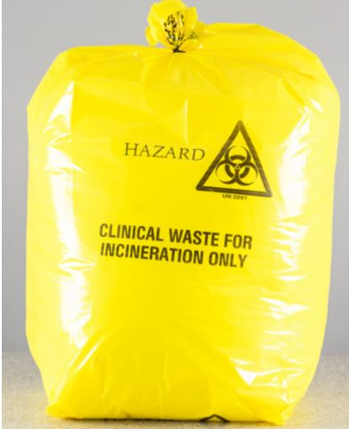 Clinical Waste Bag Yellow 50 mic 90L 15x28x39""