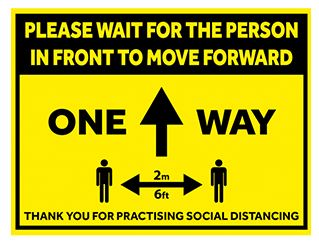 Social Distance Sign 300x400mm One Way